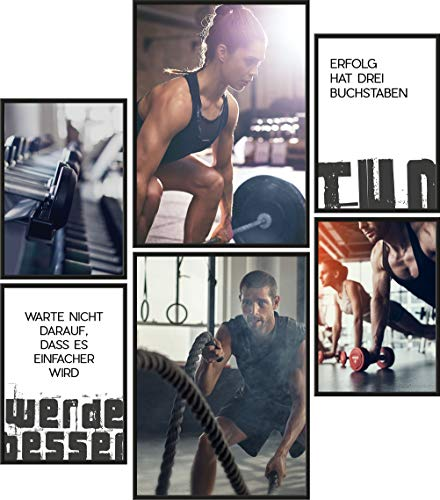 Papierschmiede® Mood-Poster Set Fitness | 6 fertig gerahmte Bilder in schwarzen Holzrahmen | 2X DIN A3 und 4X DIN A4 | Motivation Energie Ausdauer