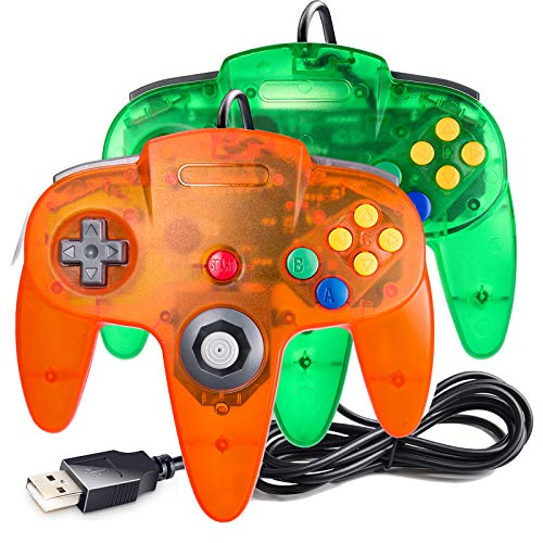 suily USB Controller for Classic N64 Games, Wired USB Gamepad Joystick for Windows PC Mac Linux Raspberry Pi 3 (Green+Orange)