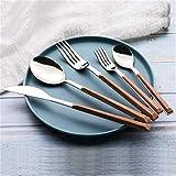 Juego de Cubiertos de Acero Inoxidable de Grano imitación Madera 304, Juego de cucharas para Cubiertos de 5 Personas