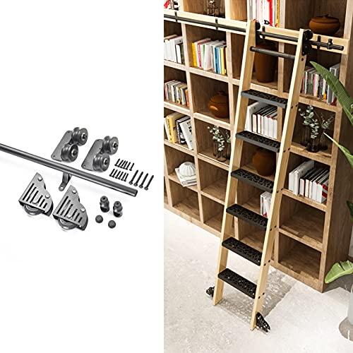 YDYFC Kit de Escalera Extensible con Ruedas, Tubo Redondo para Biblioteca, riel móvil/riel, herrajes para Puertas corredizas de Granero (sin Escalera) para Loft/hogar/Interior/librería -