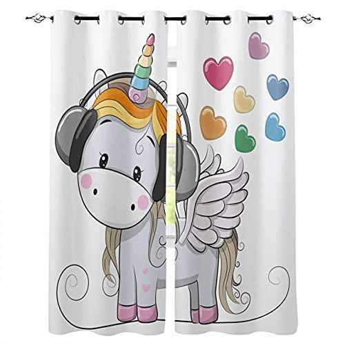 Hailongdia Cortinas Opacas, Auriculares con Forma De Corazón De Arcoíris De Unicornio Animal 3D, Cortinas Decorativas para Dormitorio De Oficina / 166 (H) X 75 (W) Cm X2 / A12432