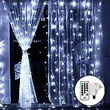 Qedertek Cascata di Luci Esterno ed Interno, Tenda Luminosa Prolungabile 3x3 m 300 LED, Tenda di Luci led Natalizie Esterno, Luci Bianco per Addobbi Natalizi, Finestra, Porta, Matrimonio, Scala