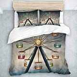 AIMILUX Juego de Funda de edredón y sábanas,Parque de Atracciones Noria,1(240 x 260cm)+2(50x80cm)