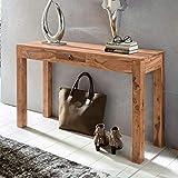 KADIMA DESIGN Akazie Konsolentisch Wood Massiv 110 cm Schublade Schreibtisch Schminktisch