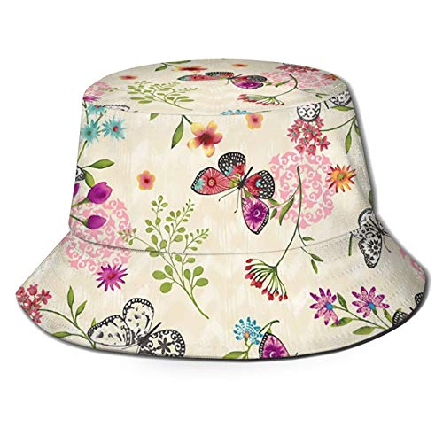 GAHAHA Fischerhüte für Herren, Schmetterlingsmütze, Blumenmuster, zum Wandern, verstaubar, UV-Schutz, Unisex, faltbar, Sommerhut