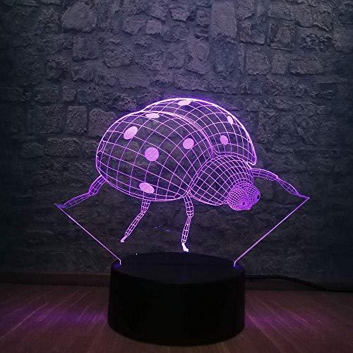 Lámpara de ilusión 3D Luz de noche LED Serie animal Lady Ladybug Dormitorio Decoración para dormir Multicolor Niño Niño Juguete Regalo de Navidad Base USB Los mejores regalos de vacaciones de cum