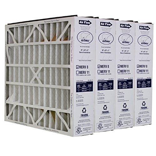 Trion Air Bear 255649-103 (4 Pack) Pleated Furnace Air Filter 20'x20'X5' MERV 8