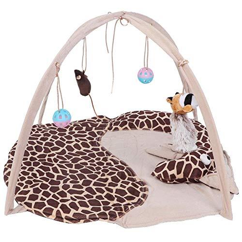 HERCHR 1 Unids Carpa para Mascotas Ejercicio Plegable portátil Tienda de jaulas para Gatos Parque Infantil Jugar Fun House Toy para Mascotas, Lona(Giraffe)