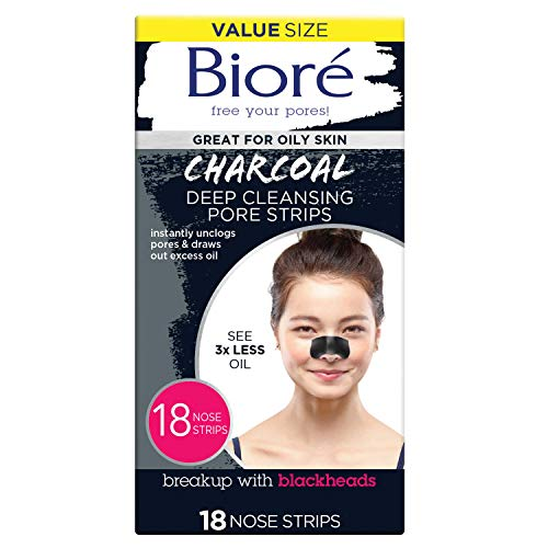 Bioré Charcoal, Deep Cleansing 18 Nose Strips for Blackhead Removal on Oily Skin, with Instant Pore...