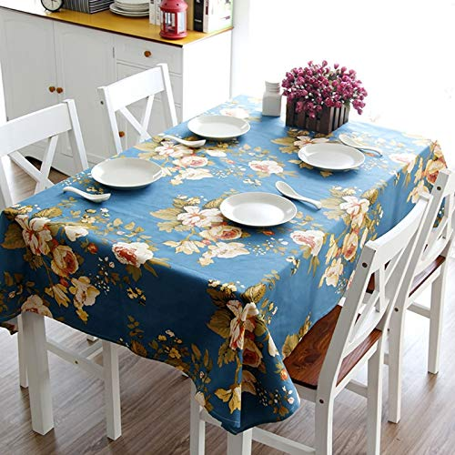 Beydodo Mantel Algodon Antimanchas Azul Mantel Mesa Rectangular Patrón de Flores y Hojas Manteles Mesa 140x180CM