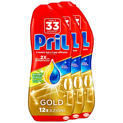 Pril Gold Gel Lavastoviglie Limone Detersivo Gel, 3 Confezioni da 33 Lavaggi