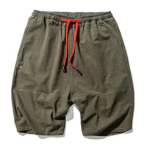 Shorts Kurze Herren Hose Herren Baumwolle Leinen Shorts Bloomers Männer Lose Leinen Harem Shorts Streetwear Shorts 4XL ArmyGreen