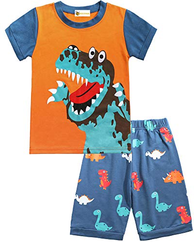 Molyhua - Pijama para bebé, niña, niño, algodón, diseño de dinosaurio cocodrilo, 2 piezas, para bebé, niño, ropa de noche, pijama 86 92 98 104 110 116 02 naranja. 86 cm (tamaño fabricante:90)