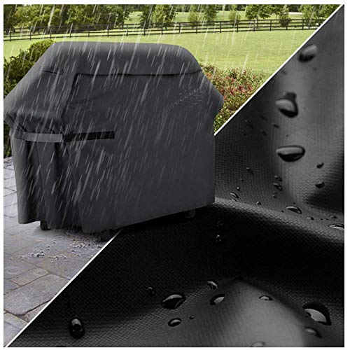 Couverture extérieure de machine de barbecue imperméable imperméable à l'eau crème solaire imperméable à la poussière haute température résistant barbecue barbecue couverture 170X60X117CM black