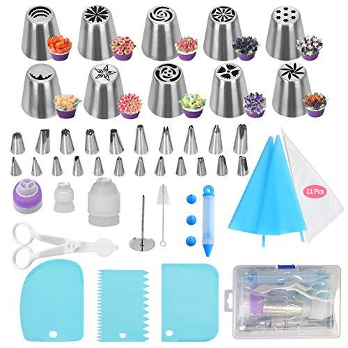 FYY Spritztüllen, 56-teilig, aus Edelstahl, DIY-Set mit 10 Russischen Tüllen, 22 Spritztüllen, wiederverwendbar, Koppler, Bürste etc. DIY Kit für Kuchendekoration