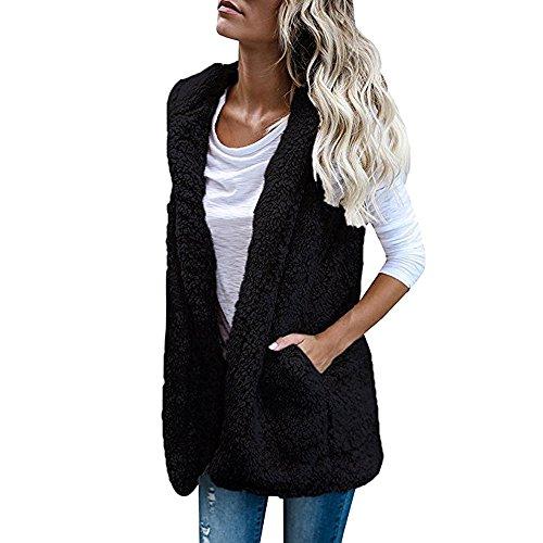 TWGONE Womens Vest Cardigan Winter Hoodie Jacket Warm Outwear Dark Casual Coat Sherpa (US-8/CN-L,Black)