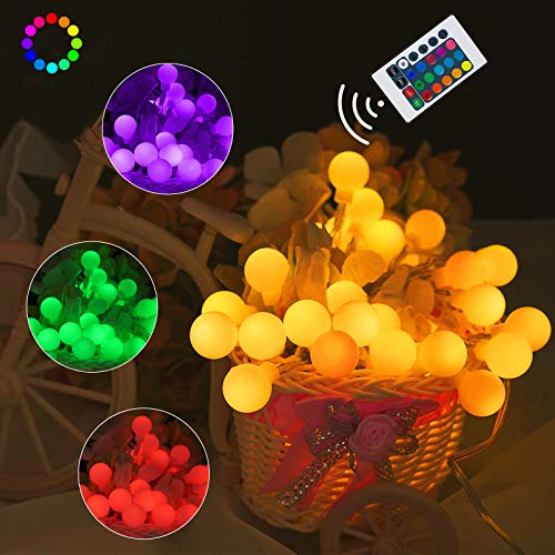 Battery Operated String Lights, 40 LED 16 Colors Globe String Lights USB Powered with Remote, Waterproof Indoor Outdoor Hanging Lights for Bedroom Christmas Camping Party Patio Holiday Decor