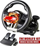 xbox racing wheel - Serafim R1+ Racing Wheel for Xbox One, PS4, PC, Switch, PS3, iOS, Android - Vibration Xbox One Steering Wheel, PS4 Steering Wheel, PC Gaming Wheel - Gaming Steering Wheel with Responsive Pedal