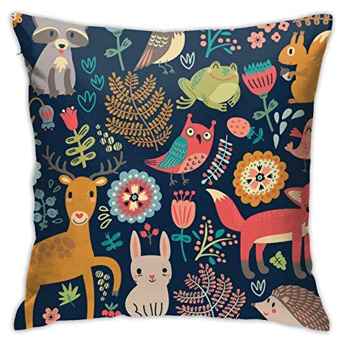 87569dwdsdwd Cute Fox Square Pillow Case Home Sofa Decorative 18' X 18'Inch Ultra Soft Comfortable