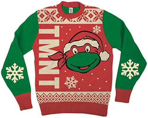 Teenage Mutant Ninja Turtles Big Turtle Gesicht Rot hässlich Weihnachten Sweater (Erwachsene XX-Large)