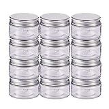 BENECREAT 12 Satz 60ml Säule Kunststoff klar Vorratsbehälter Gläser Organizer mit Aluminium...