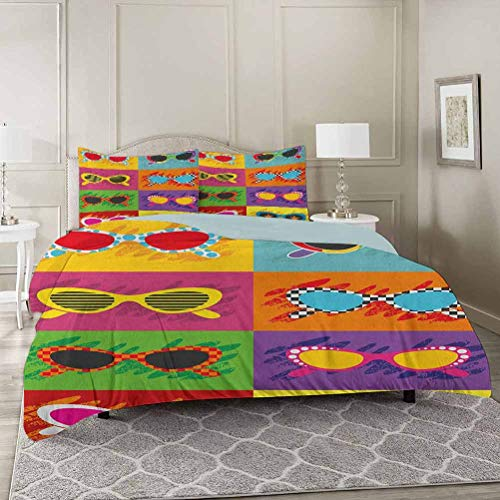 YUAZHOQI 70s Party Bedding Duvet Cover 3 Piece Set Twin, Pop Art Style Sunglasses Vibrant Colorful Combination Summer Season Fun Art Comforter Cover with Zipper Closure and 2 Pillow Sham