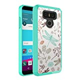 LG G6 Case, Capsule-Case Hybrid Slim Hard Back Shield Case with Fused TPU Edge Bumper (Teal Mint Green) for LG G6 - (Dragonfly)