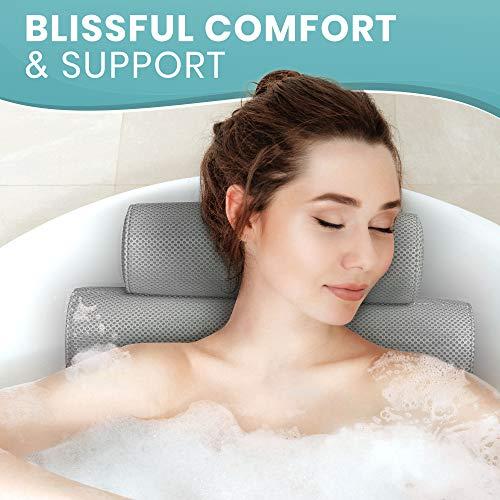 Everlasting Comfort Bathtub Bath Pillow - Jacuzzi Bathtub Spa Pillow with Back and Headrest Cushion - 4 Non Slip Suction Cups