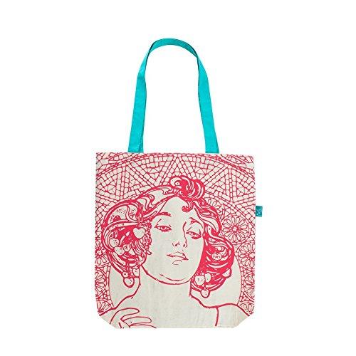 Eleganter Jutebeutel bedruckt mit Alphonse Mucha Gemälden, Baumwolltasche, Stofftasche für Damen (Ruby)