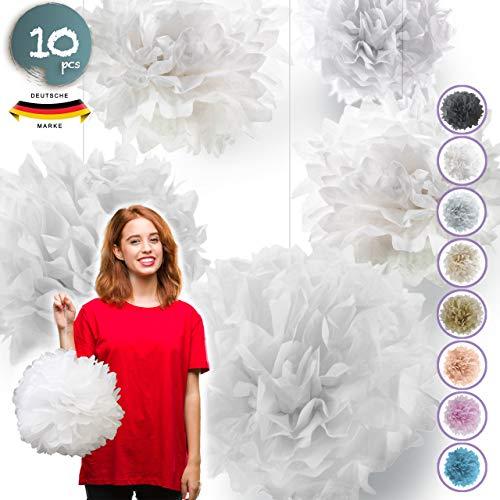 Pumpko® Decor 10 Seidenpapier Pompons | Deko für Party Hochzeit Weihnachtsdeko | Weiß | Inklusive PDF Aufbauanleitung Ponpon
