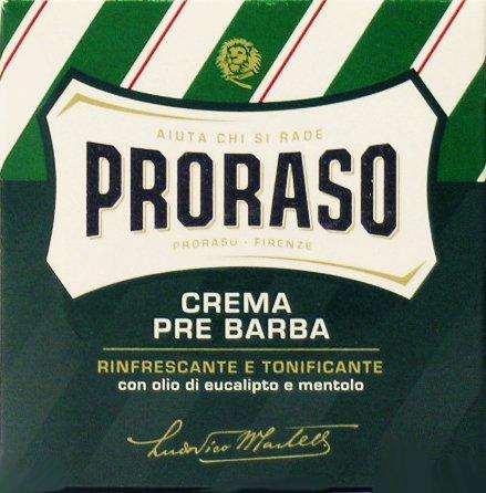 12x PRORASO creme preshave cream 100ml mit Eukalyptusöl und Menthol Grün