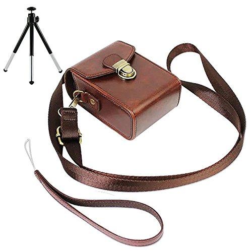 marrón Oscuro PU Cuero Bolsa Funda para cámara para Nikon COOLPIX A A900 S9900 P6000 Canon PowerShot SX710 HS Panasonic LUMIX DMC-TZ80 TZ100 ZS100 caiso EX-10 + Mini trípode BDX2110G6-61018