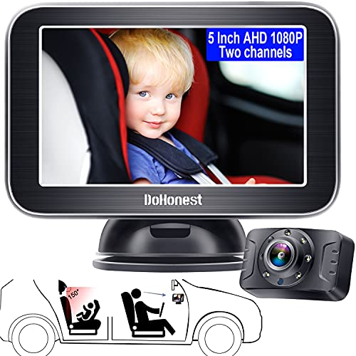 Baby Car Mirror,5'' AHD 1080P IR Night Vision Car Baby Monitor for Safety Rear Facing Infant with Wide Crystal Clear View,Easily Observe the Baby's Move,Second Camera Available for Backup-DoHonest S04