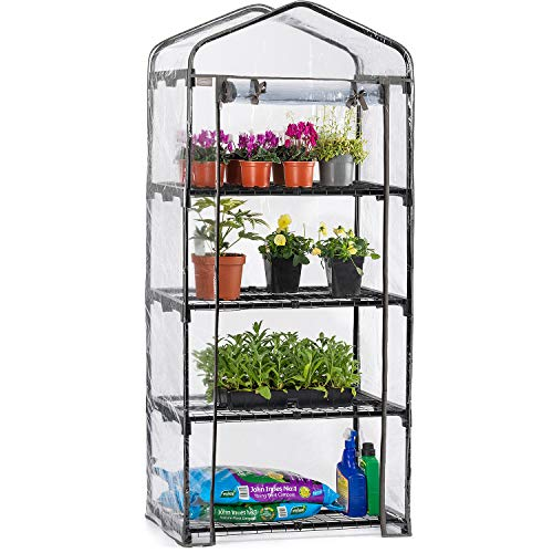 CHRISTOW 4 Tier 5ft Greenhouse, Mini Portable Compact Garden Growhouse, Sturdy Steel Frame, Double Zip PVC Cover