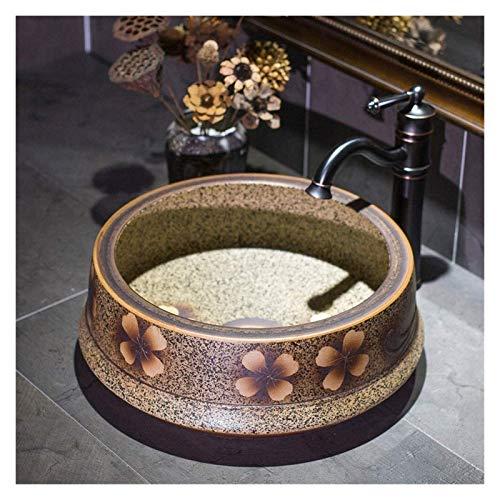 WANGQW Lavabos sobre Encimera sobre el Lavabo del Lavabo Fregadero de la Cuenca, Cuarto de baño Redondo Lavabo hacia Arriba, tazón de Lavabo de cerámica de Porcelana