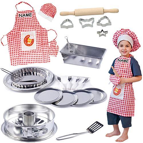 alles-meine.de GmbH 24 TLG. Backset / Kochset - Kinderküche - inkl. Name- aus Metall - echte Blech / Backform + Küchenhelfer + Kinderschürze - Backofen - Torte Kuchen Springform ..