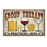 Lata Metal Vintage de la Pared Muestra Placa Cartel Terapia de Grupo Practica aquí para Cafetería Bar Cerveza Decoración, 30 x 40 cm