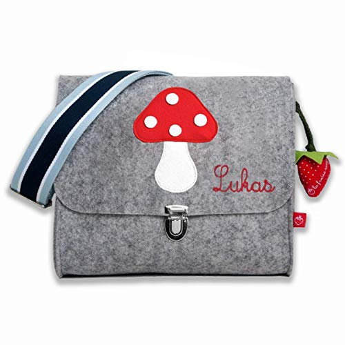 Kindergartentasche mit Namen Glückspilz Filztasche für jungen und Mädchen von la fraise rouge
