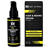 Hair Growth and Beard Serum for Men, 2oz, With Biotin, Saw Palmetto, and Caffeine, Promotes Natural Growth, Strength and Manageability, Reduces Dryness and Fights Hair Loss - Made in USA by MR ALPHA