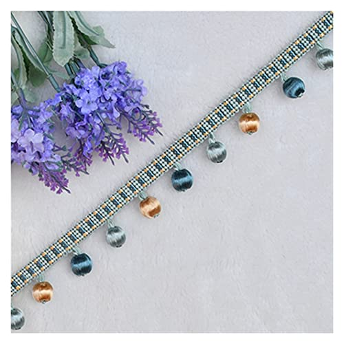 DUBILE Borlas Decorativas 3yard Rayon Beads Lace Borla Franja Bola Cortina Sofá Mantel Accesorios Accesorios Pom Encaje Trim Decoración DIY Borlas De Flecos Manualidades (Color : Light Blue)