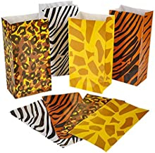 Safari Zoo Animal Jungle Paper Treat Bags, School Supplies and Children's Birthday Party Bags, 24-Pack