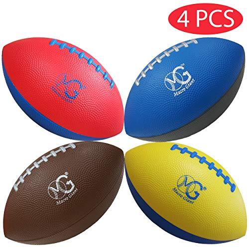 Macro Giant 9-Zoll Mini American Football aus Weichem Schaumstoff, 4er-Set, Grundfarben, Training, Spielplatzball, Sportspielzeug, Garten, Indoor Outdoor Aktivitäten