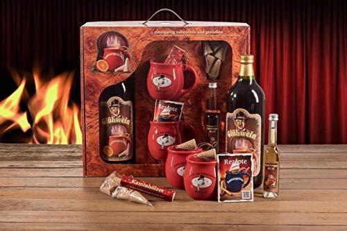 Feuerzangentasse Geschenkset, Wurzelholz, Rot/Rühmann Schlock - für Feuerzangenbowle