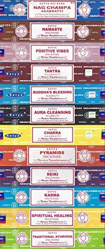 Satya - Juego de 12 varillas de incienso, Nag Champa Namaste Positive Vibes Tantra Buddha Blessing Aura Cleansing Chakra Pyramids Reiki Karma Spiritual Healing Traditional Ayurveda