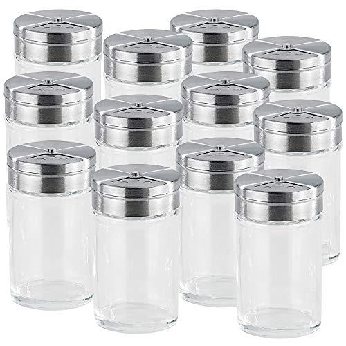 Rosenstein & Söhne Gewürzglas: 12-teiliges stilvolles Gewürzstreuer-Set aus Glas (Gewürzglas Streuer)