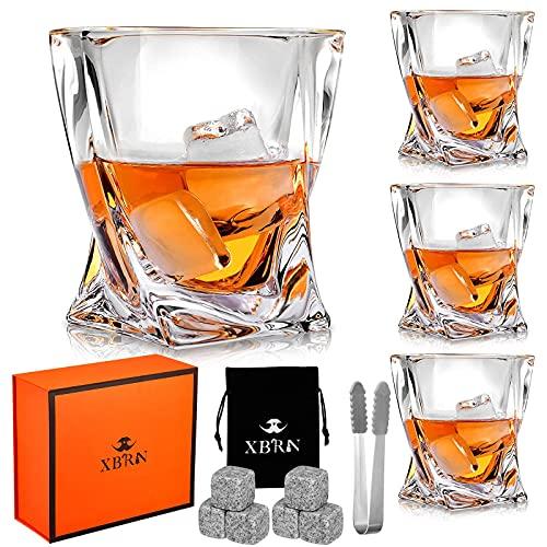 Crystal Whiskey Glasses Set of 4, Rocks Glasses, 6 Granite Chilling...