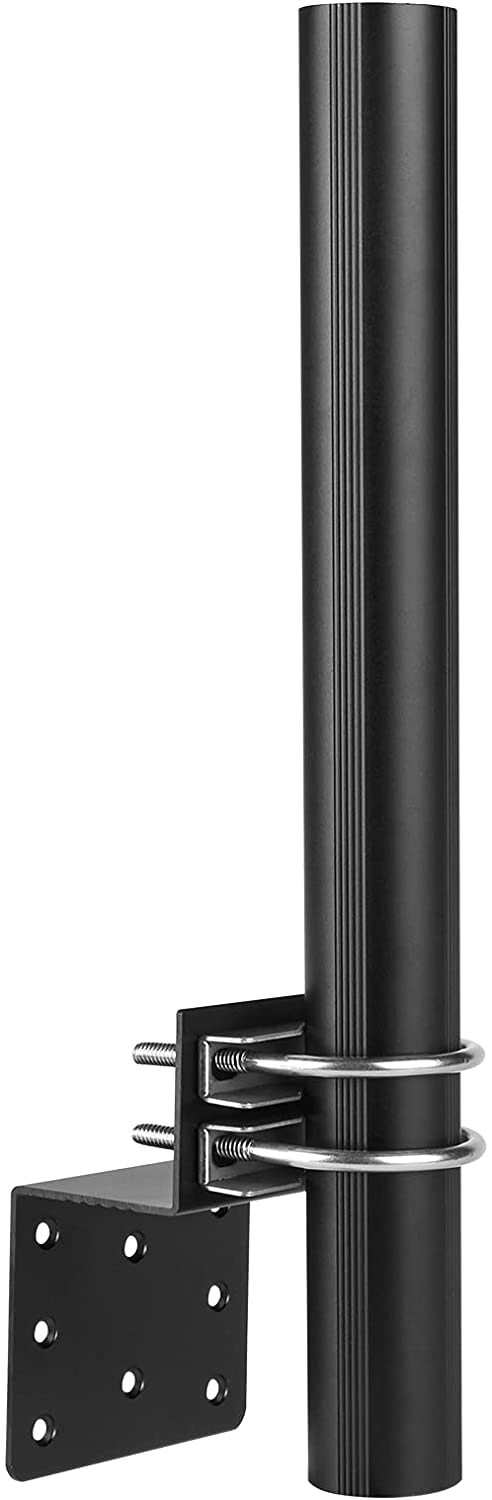 Antenna Pole Mount for Outdoor, Upgraded 14 Inch Antenna Mount Pole with Double U-Bolts - Universal Antenna Mounting Pole for Home Outside Antennas/Cell Phone Signal Booster - Black