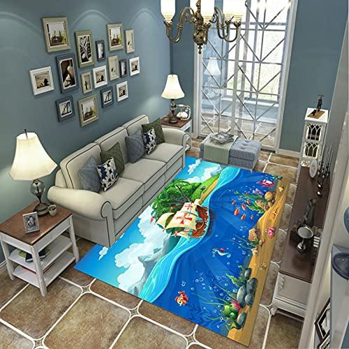 Alfombra Suave, Moderno Estilo Decoración Alfombras, Niños Gateando Manta, Arte De Impresión 3D Mundo Submarino De Dibujos Animados, 80X150Cm Moqueta Para Dormitorio Y Salón O Habitación Infantil