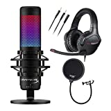 HyperX QuadCast S RGB USB Condenser Gaming Microphone with Golink Gaming Headset and Knox Gear Pop Filter (3 Items)
