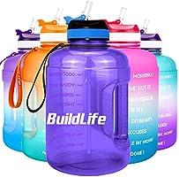 BuildLife 2,2 l motiverende waterfles met brede opening met rietje en tijdmarkering voor dagelijks drinken, BPA-vrij,...